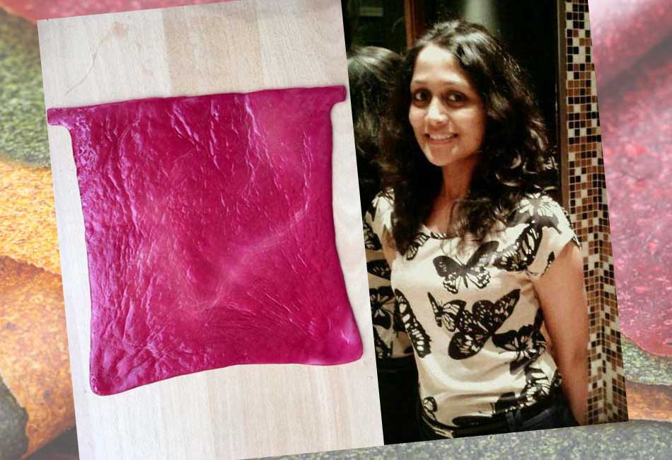 Trishla Sanjeev with home made Faux leather